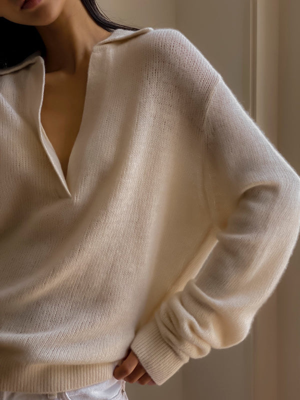 V-NECK COLLARED CASHMERE SWEATER