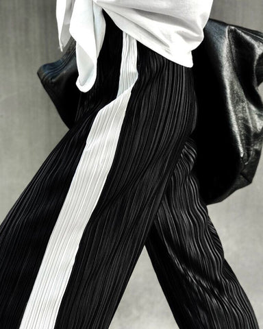 PLEATED TRACK PANTS - 2 COLORS