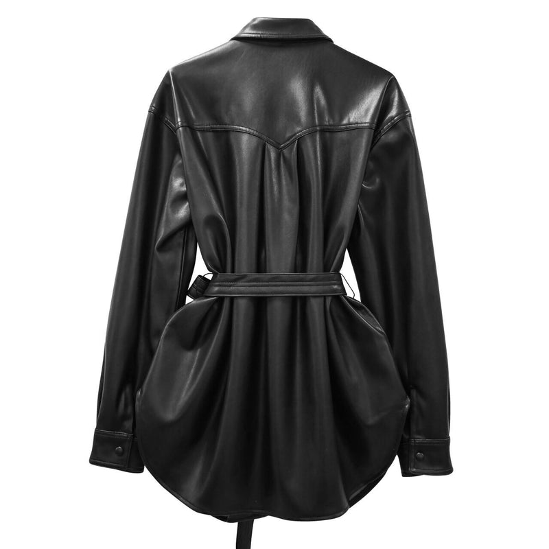 BELTED VEGAN LEATHER SHIRT