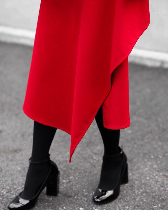 ASYMMETRIC WRAP MIDI SKIRT