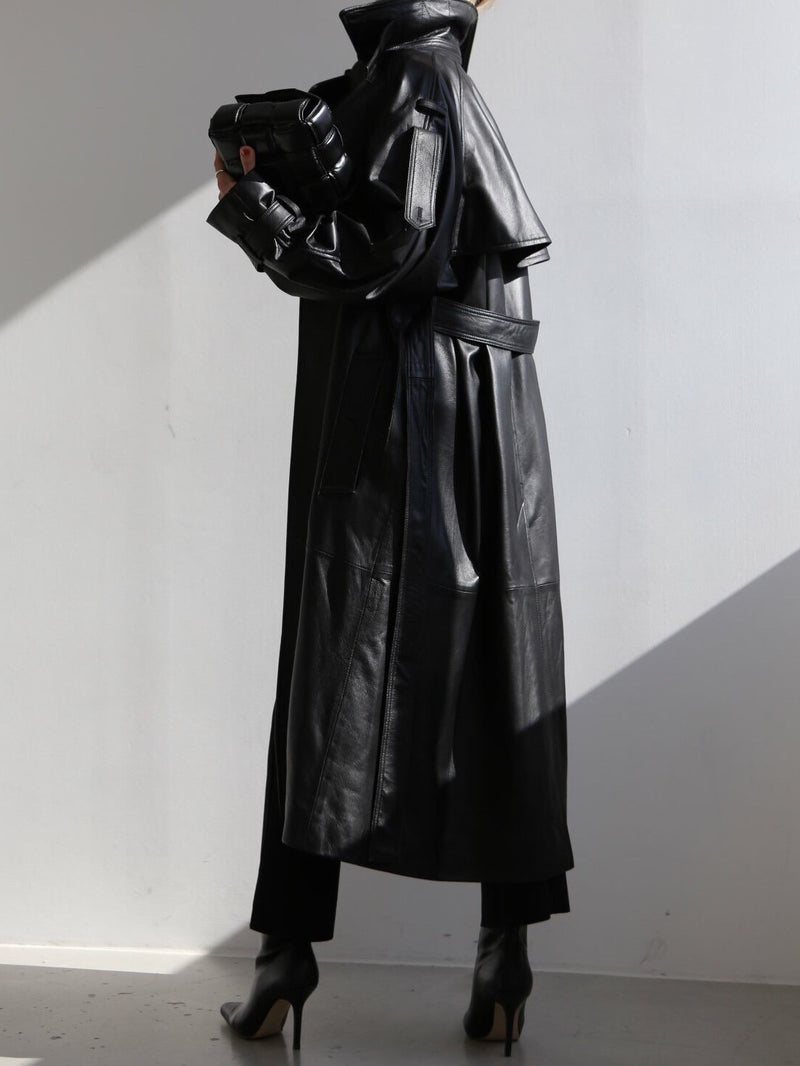 BELTED LEATHER TRENCH COAT