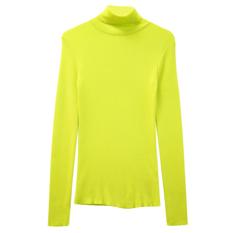 NEON RIBBED KNIT TURTLENECK