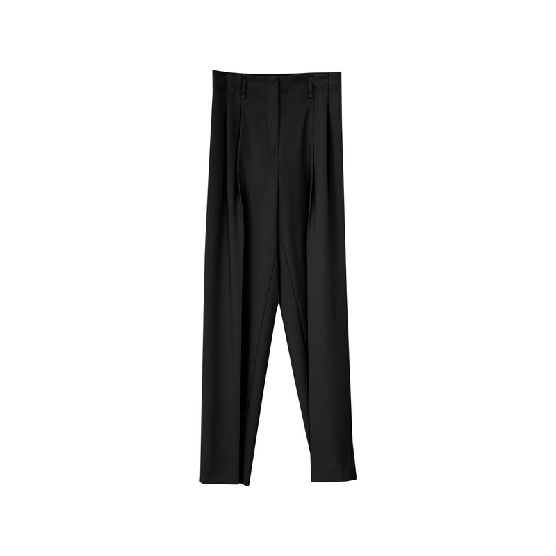 DOUBLE PLEATED STRETCH TROUSERS