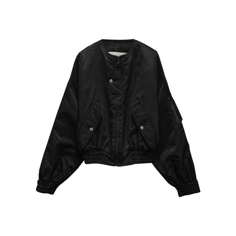 SILKY CROPPED BOMBER JACKET