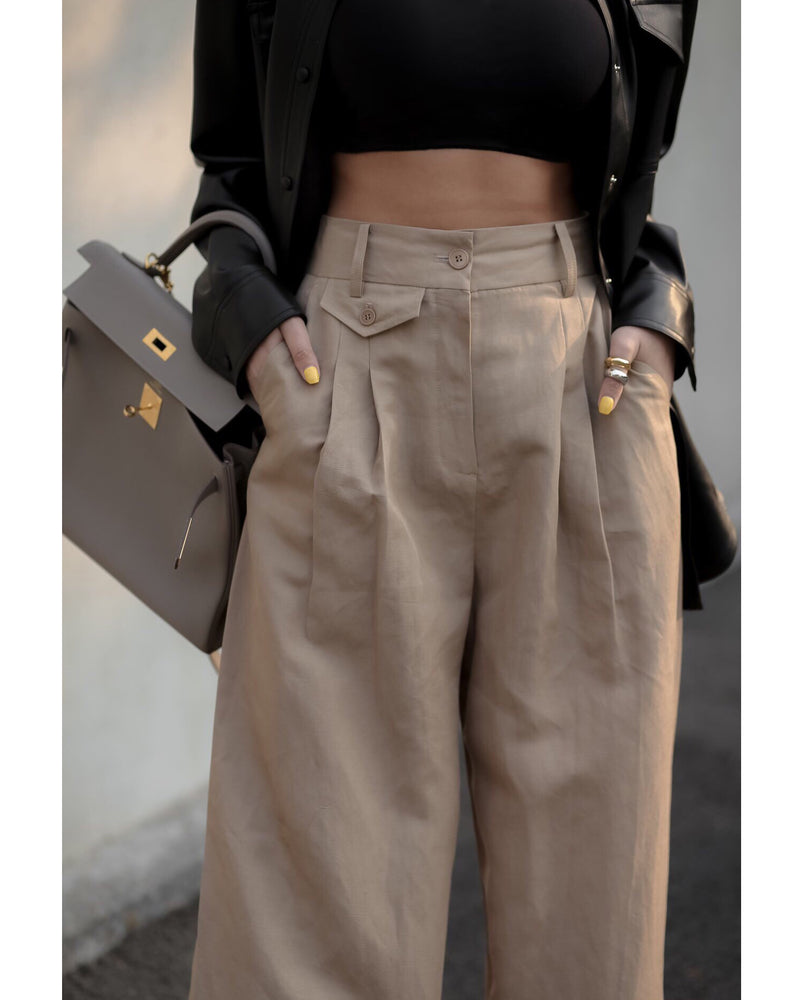 LINEN WIDE PINTUCK TROUSERS