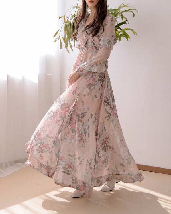 RUFFLED FLORAL CHIFFON DRESS