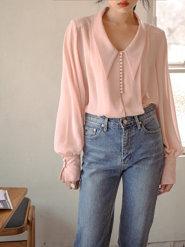 BUTTON DETAIL CHIFFON BLOUSE