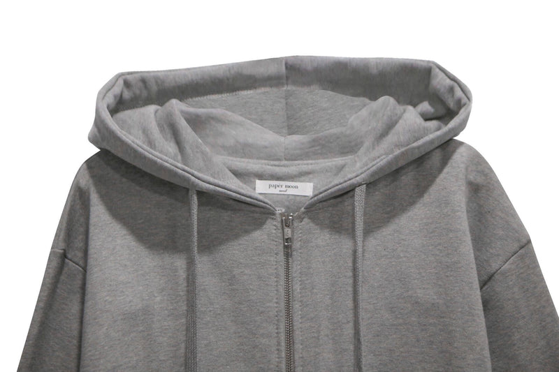 ZIP UP UNBALANCED COTTON HOODIE