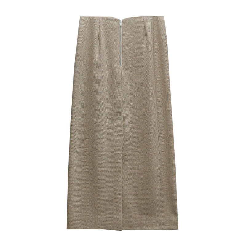WOOL MIDI HERRINGBONE PENCIL SKIRT