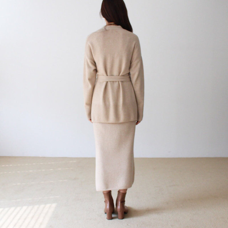 BELTED CASHMERE CARDIGAN