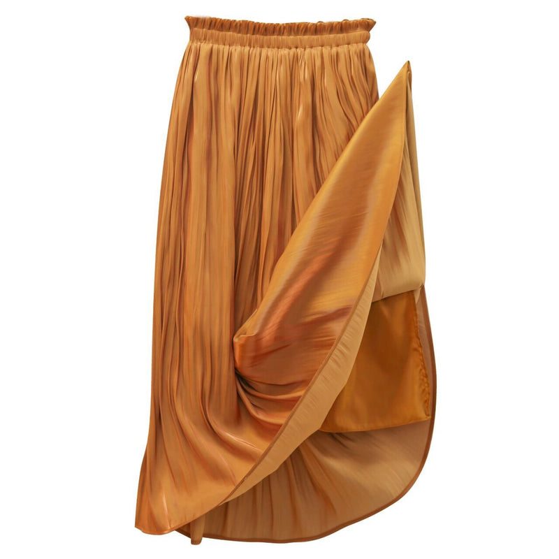 CHIFFON BANDED MAXI PLEATED SKIRT