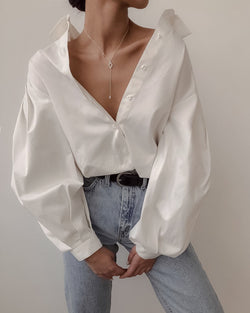 PUFF SLEEVE COTTON BLOUSE