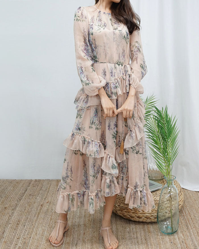 RUFFLED MAXI GEORGETTE DRESS
