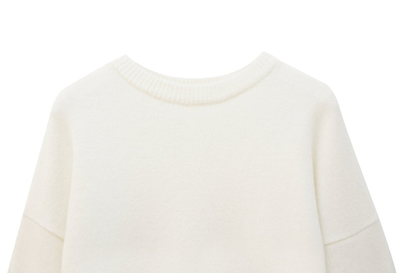 CASHMERE KNIT WITH FLARED SHIRT SLEEVE CUFF