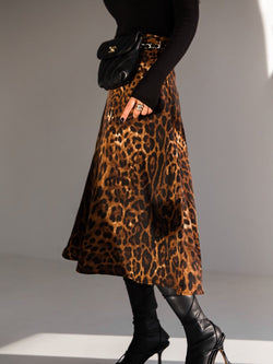 SILKY FLARED LEOPARD SKIRT