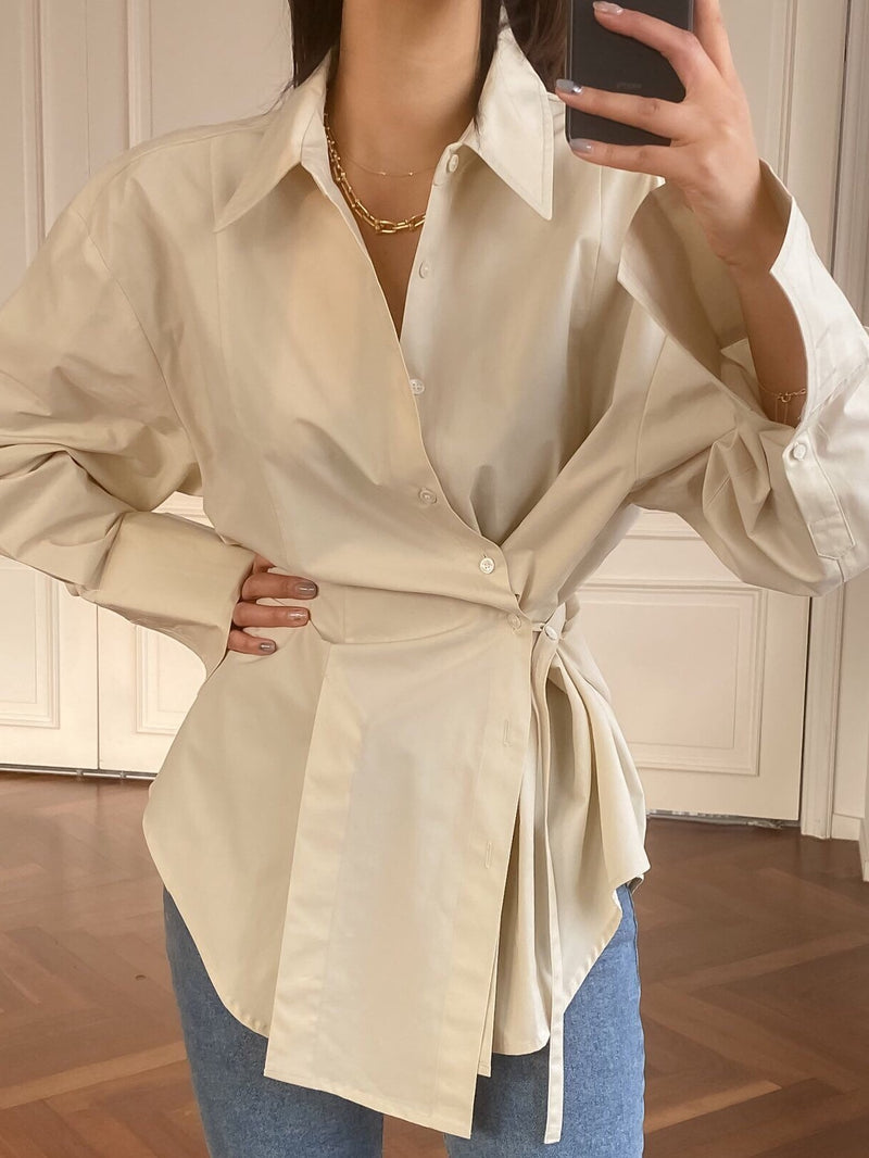 COTTON UNBALANCED WRAP BLOUSE