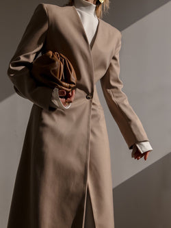 COLLARLESS TWILL MAXI COAT