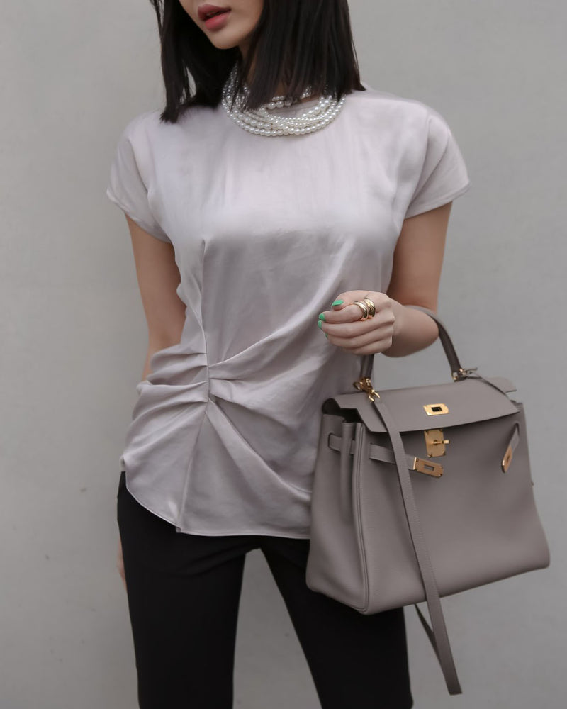 SILKY DRAPED BLOUSE