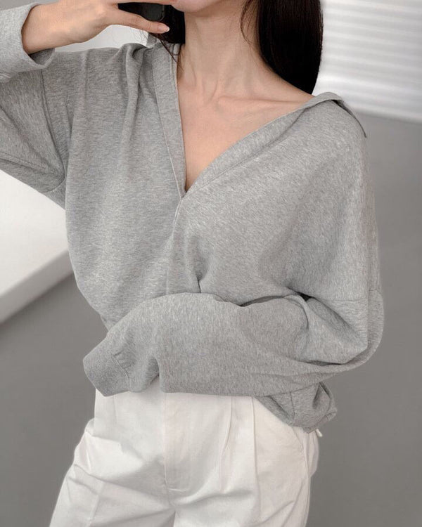 COLLAR OVERSIZED SWEATSHIRT