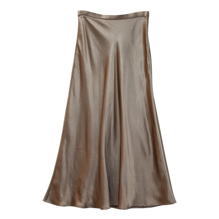 SILK MIDI SKIRT - 4 COLORS