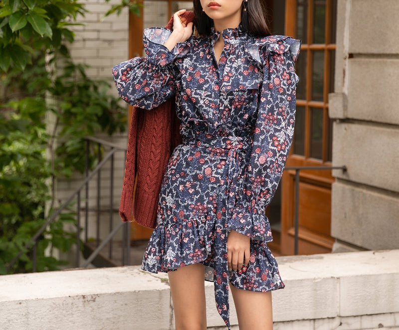 FLORAL PRINT RUFFLE DRESS