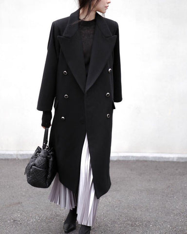 LOOSE DOUBLE BREASTED WOOL COAT