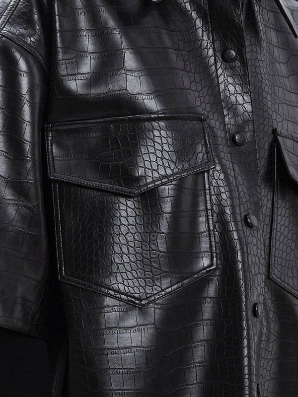 CROC LEATHER HALF SLEEVE SHIRT
