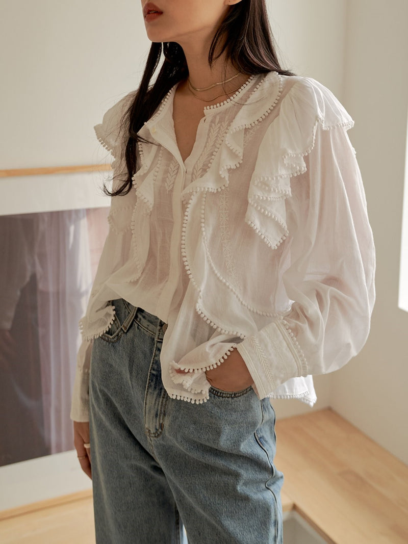 LUXE RUFFLE COTTON BLOUSE