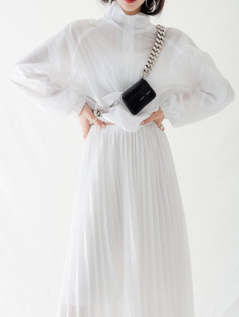 CHIFFON MAXI PLEATED SKIRT