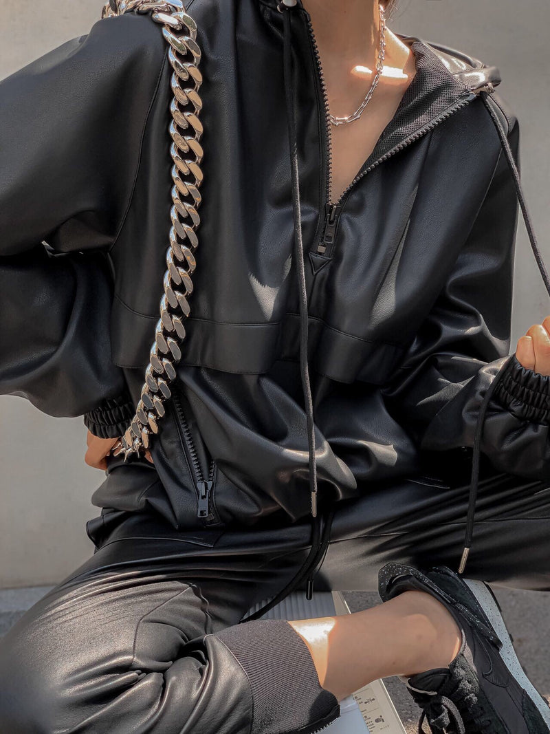 LEATHER ANORAK JACKET