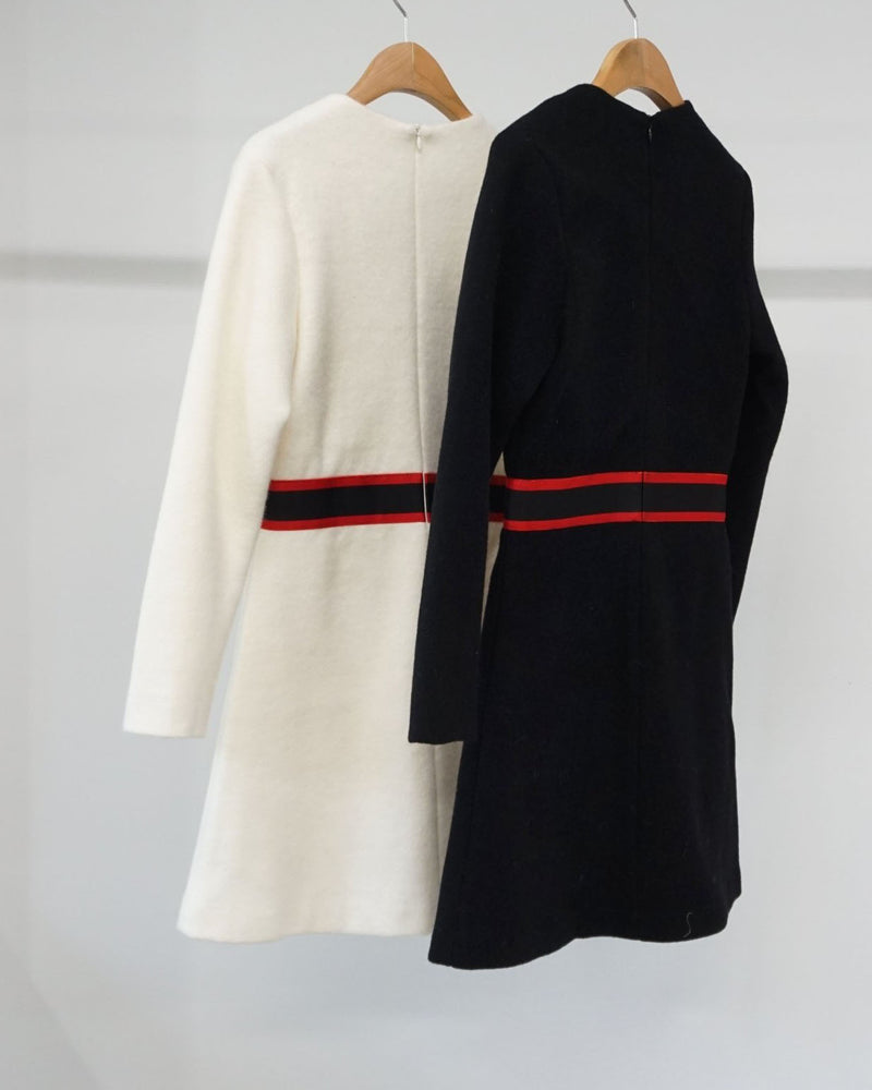 [SPECIAL PRICE] CONTRAST WOOLEN DRESS