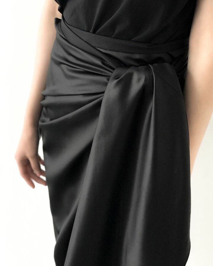 SILK WRAP SKIRT - 2 COLORS