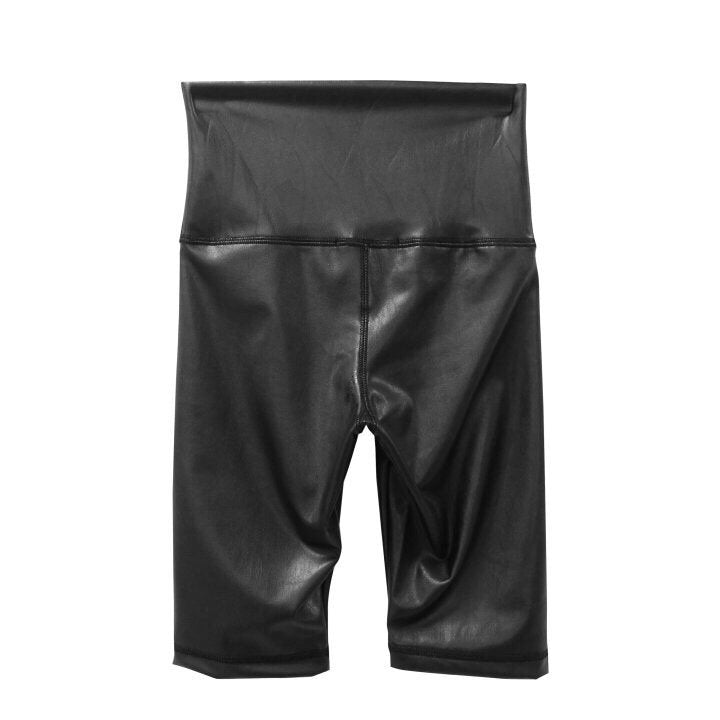 VEGAN LEATHER BIKE SHORTS
