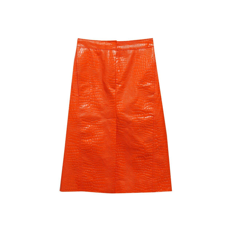 CROC LEATHER PENCIL SKIRT