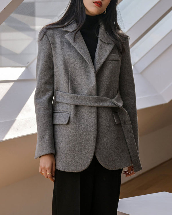 BELTED TAILORED WOOL JACKET