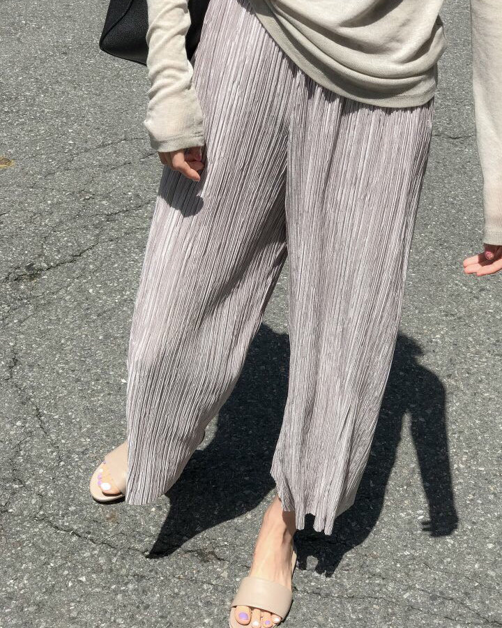 PLEATED WIDE PANTS - 2 COLORS