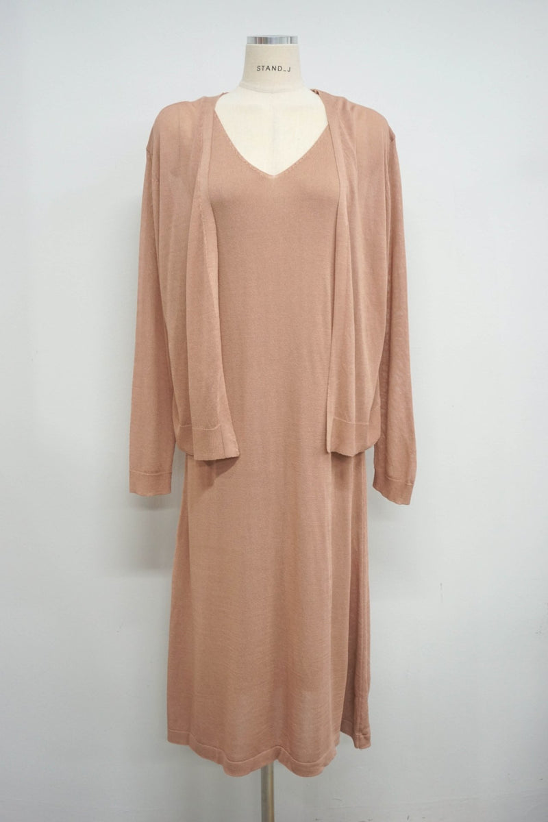 LOOSE SLIP DRESS & CARDIGAN SET