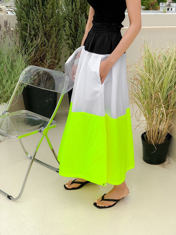 COLOR BLOCK POPLIN SKIRT