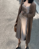 LINEN KNIT CARDIGAN DRESS - 3COLORS