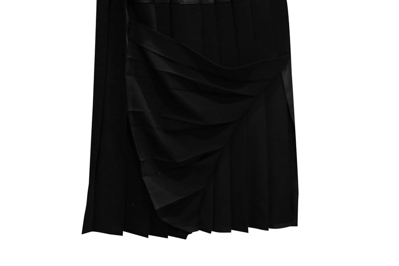 VEGAN LEATHER PLEATED SKIRT