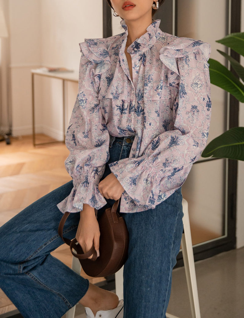 FLORAL BLOUSE FLARE CUFF