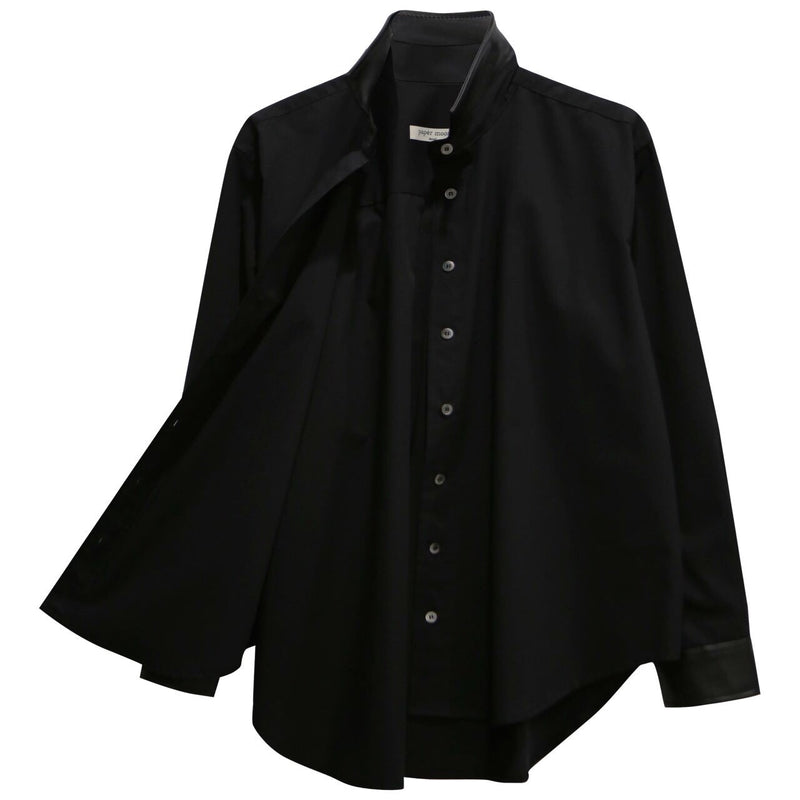 COTTON SHIRT WITH LEATHER COLLAR