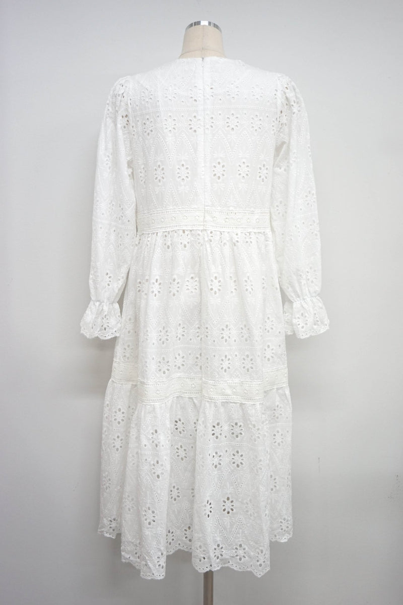 LUXE LONG SLEEVE EMBROIDERED DRESS