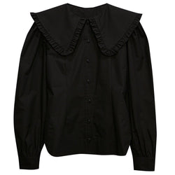 OVERSIZED SHAWL COLLAR COTTON BLOUSE