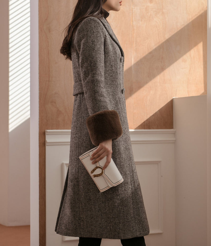 MIDI HERRINGBONE COAT
