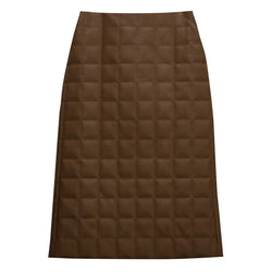 LEATHER QUILTED PENCIL SKIRT