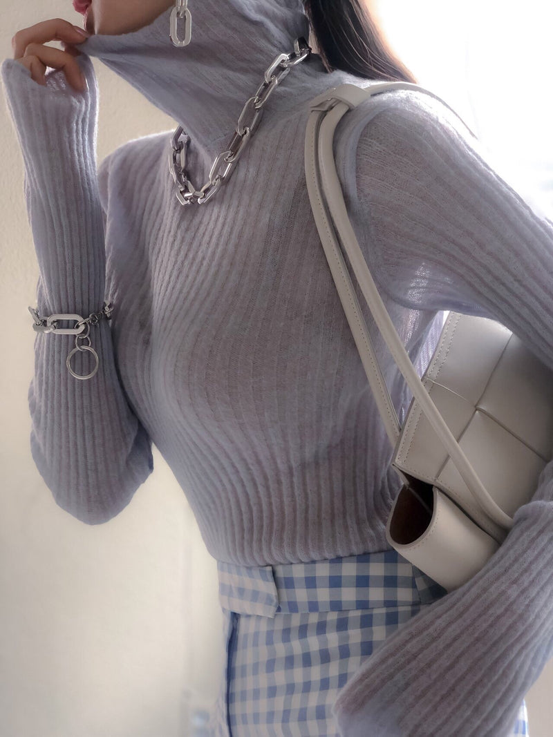 MOHAIR RIBBED TURTLENECK KNIT