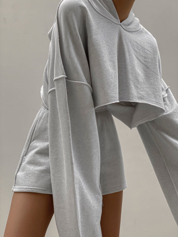 INSIDE OUT MAXI SLEEVE CROPPED HOODIE