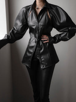 VEGAN LEATHER CUT-OUT DETAIL SHIRT