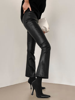 VEGAN LEATHER CROPPED FLARE PANTS